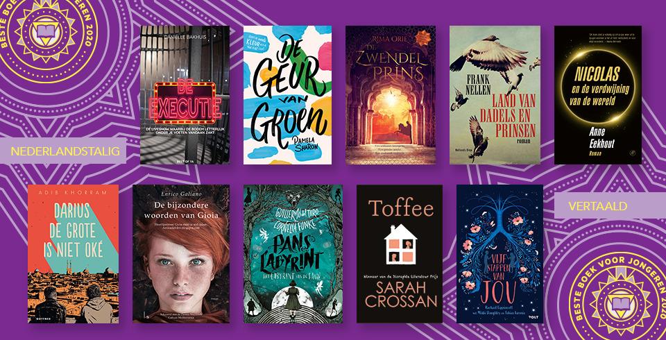 De covers van de genomineerde boeken van het Beste Boek voor Jongeren